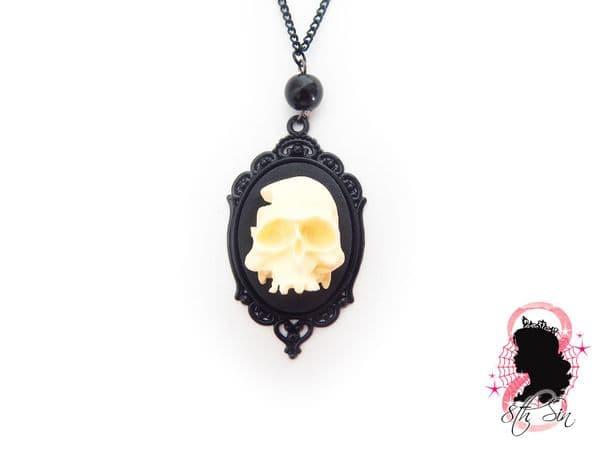Gunmetal Black Human Skull Cameo Necklace